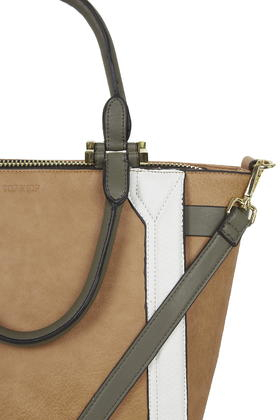 TOPSHOP Structured Colour-Block Tote Bag in Tan (Brown)