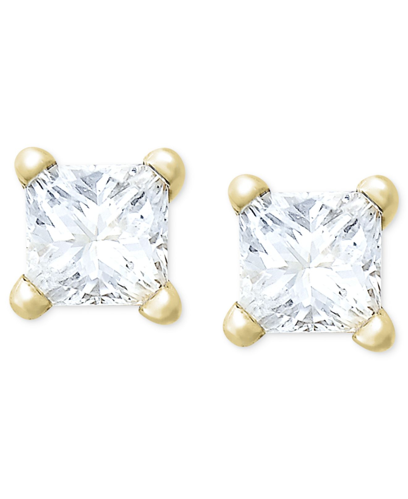macy 39 s princess cut diamond stud earrings in 10k yellow or. Black Bedroom Furniture Sets. Home Design Ideas