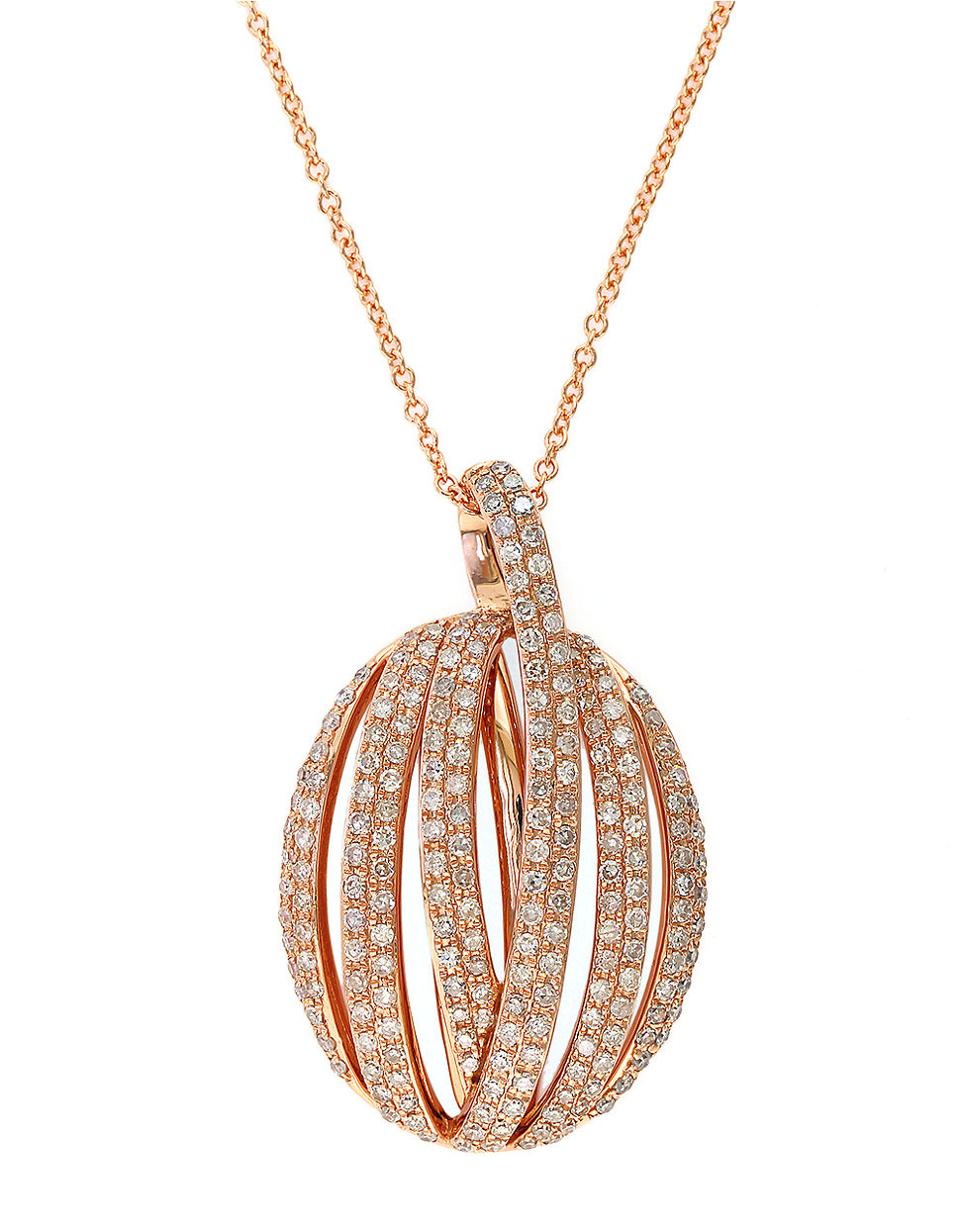 Lyst effy diamond and 14k rose gold pendant necklace 083 tcw gallery mozeypictures Image collections