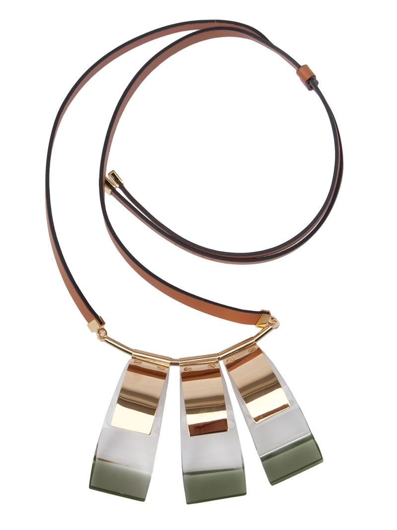 Marni Necklaces Abstract shapes and unexpected color combinations dominate the range of Marni necklaces at Farfetch. Oversized pendants and playful proportions emphasize the .