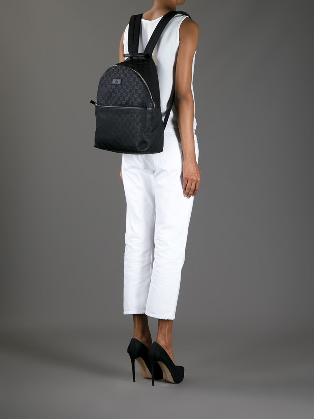 5ea7f3c21e51 Gucci Embossed Monogram Backpack in Black - Lyst