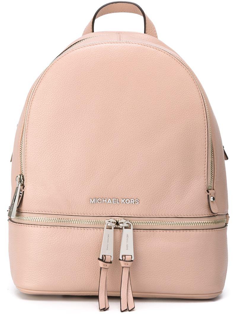 lyst michael michael kors 39 rhea 39 backpack in pink. Black Bedroom Furniture Sets. Home Design Ideas
