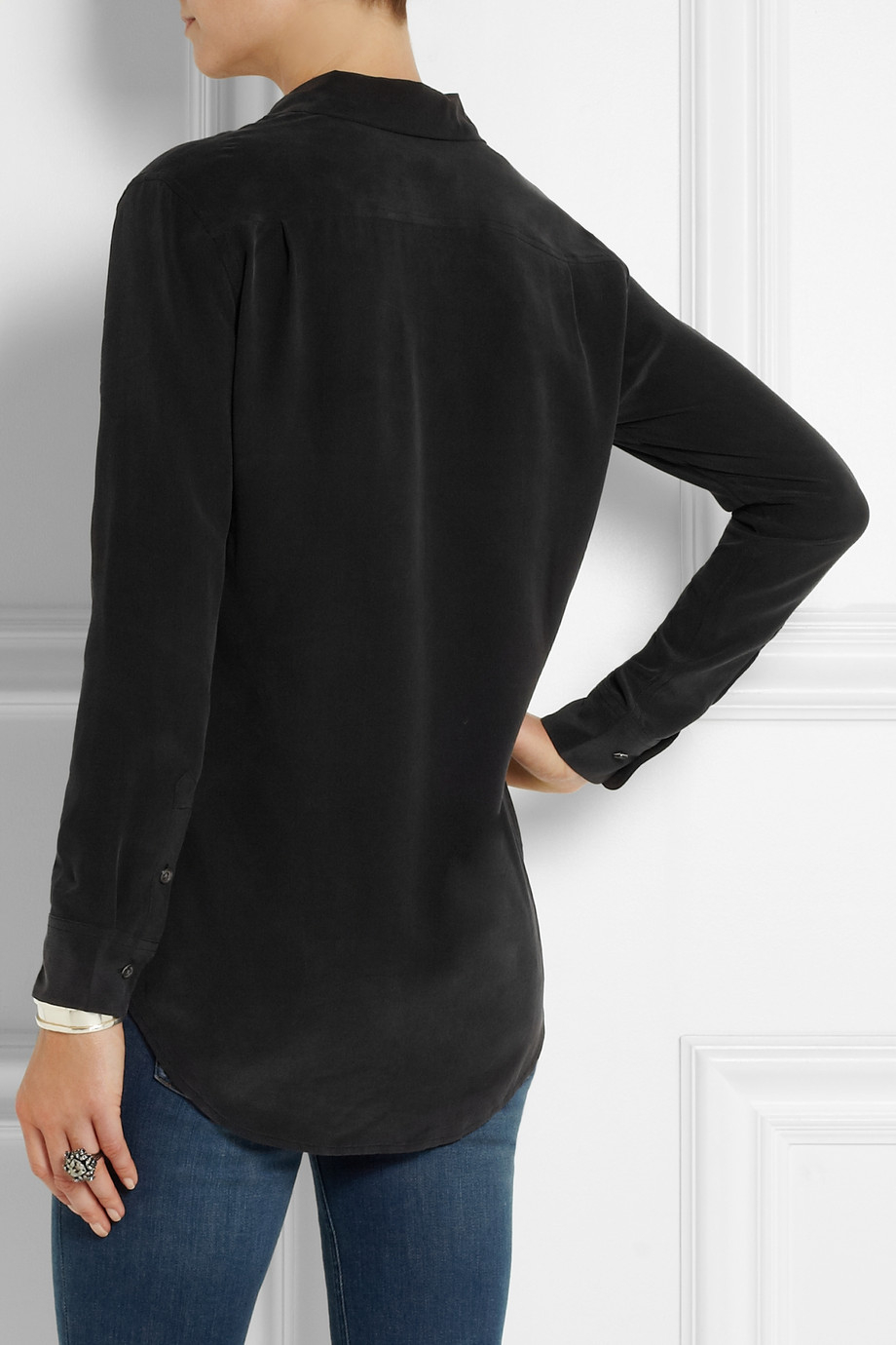 0f47d57c0d33f3 Lyst - Equipment Reese Crystal-Embellished Washed-Silk Shirt in Black