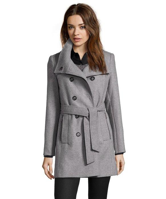 Grey pea coat for women