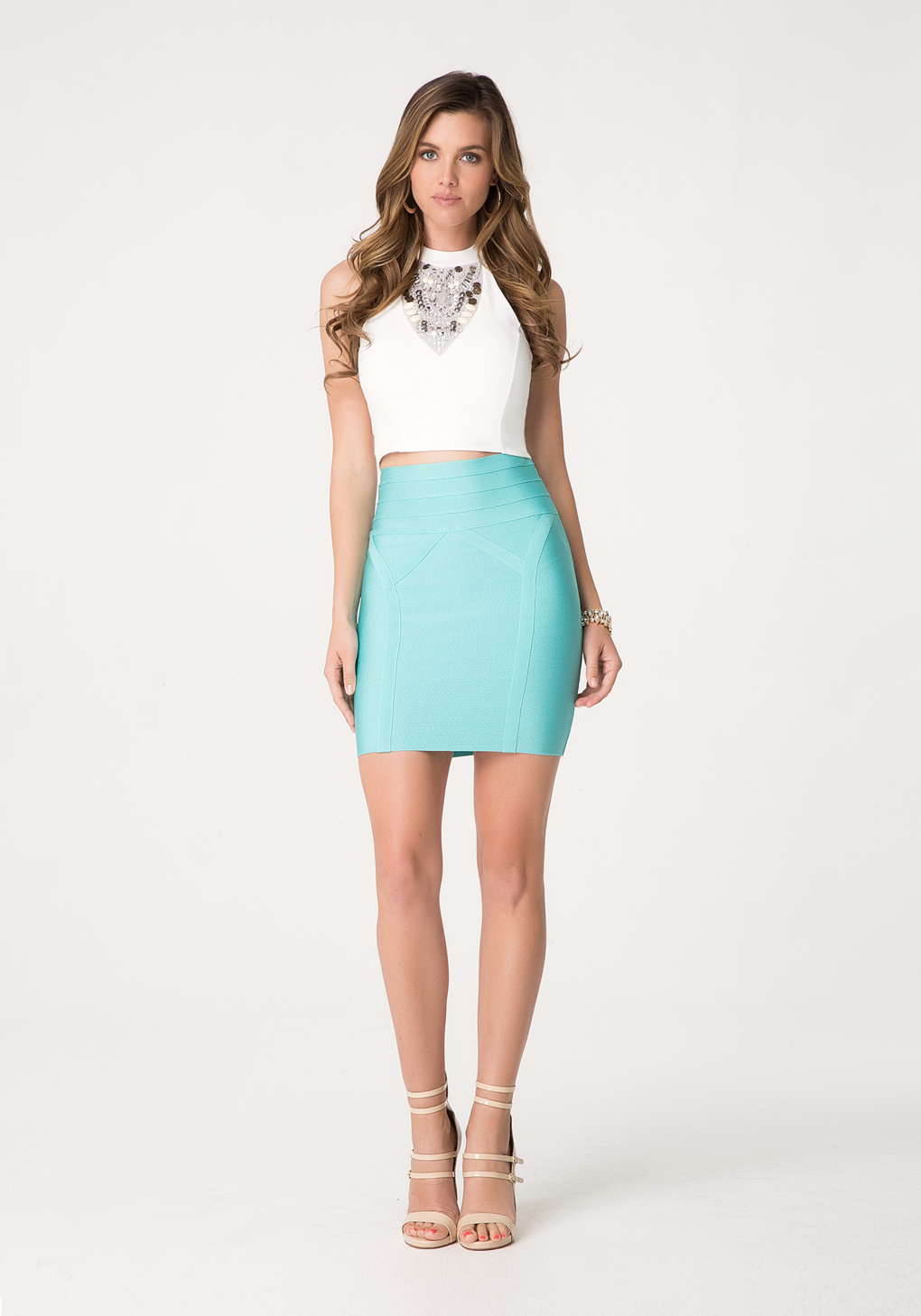 Bebe High Waist Bodycon Skirt in Blue | Lyst
