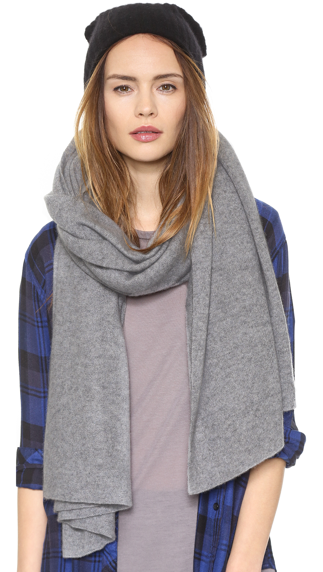 White warren cashmere travel wrap scarf fondant in gray lyst for Travel scarf