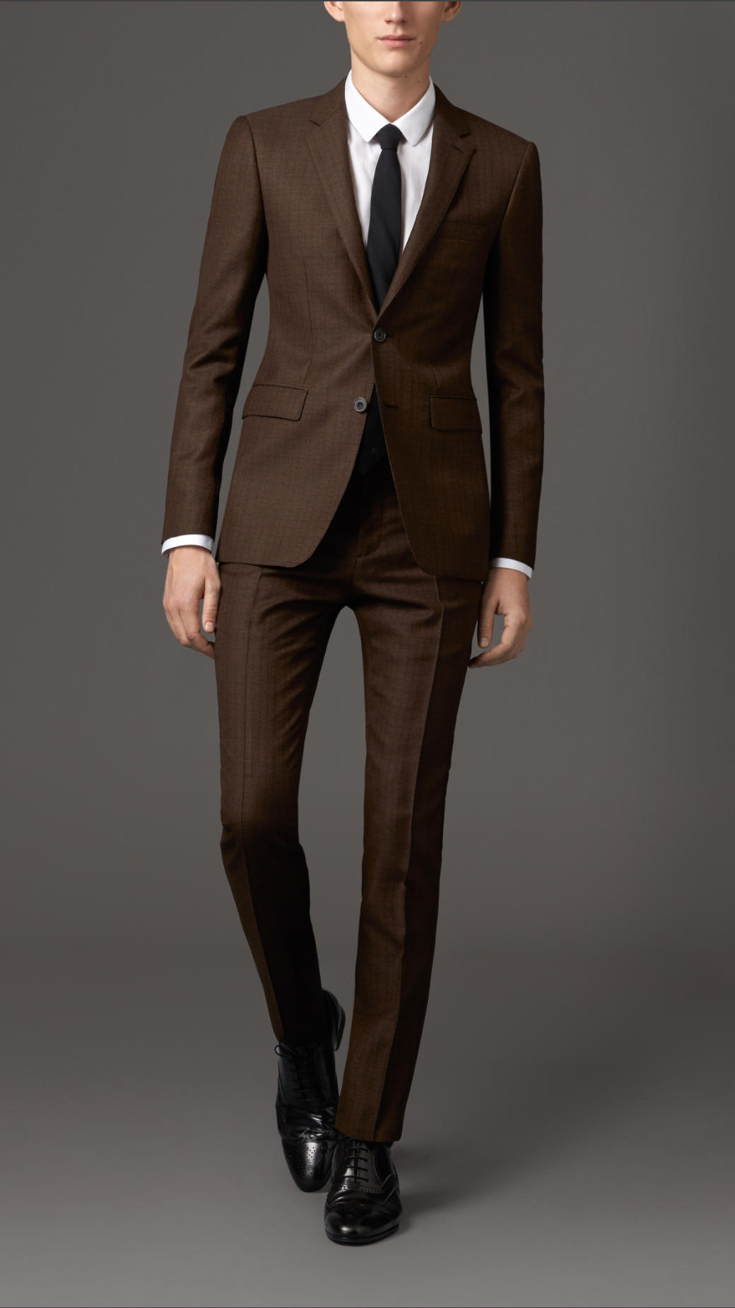 Burberry Slim Fit Prince Of Wales Check Suit in Brown for Men | Lyst