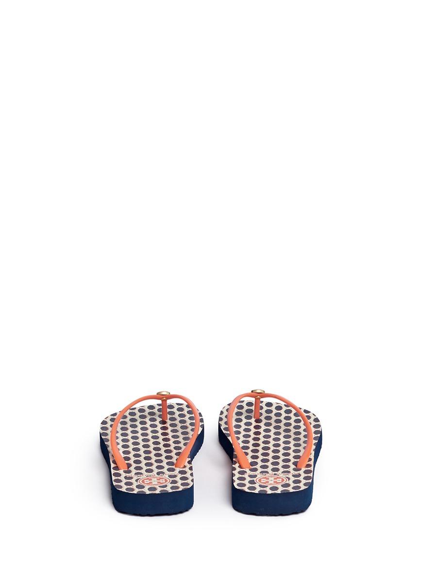 Tory Burch Thin Polka Dot Print Flip Flops - Lyst-9613