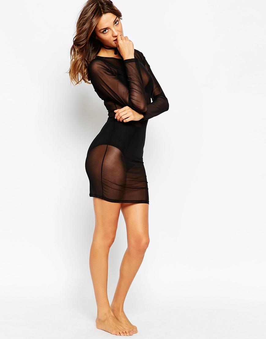 Lyst Asos Mesh Bodycon Slip Dress In Black
