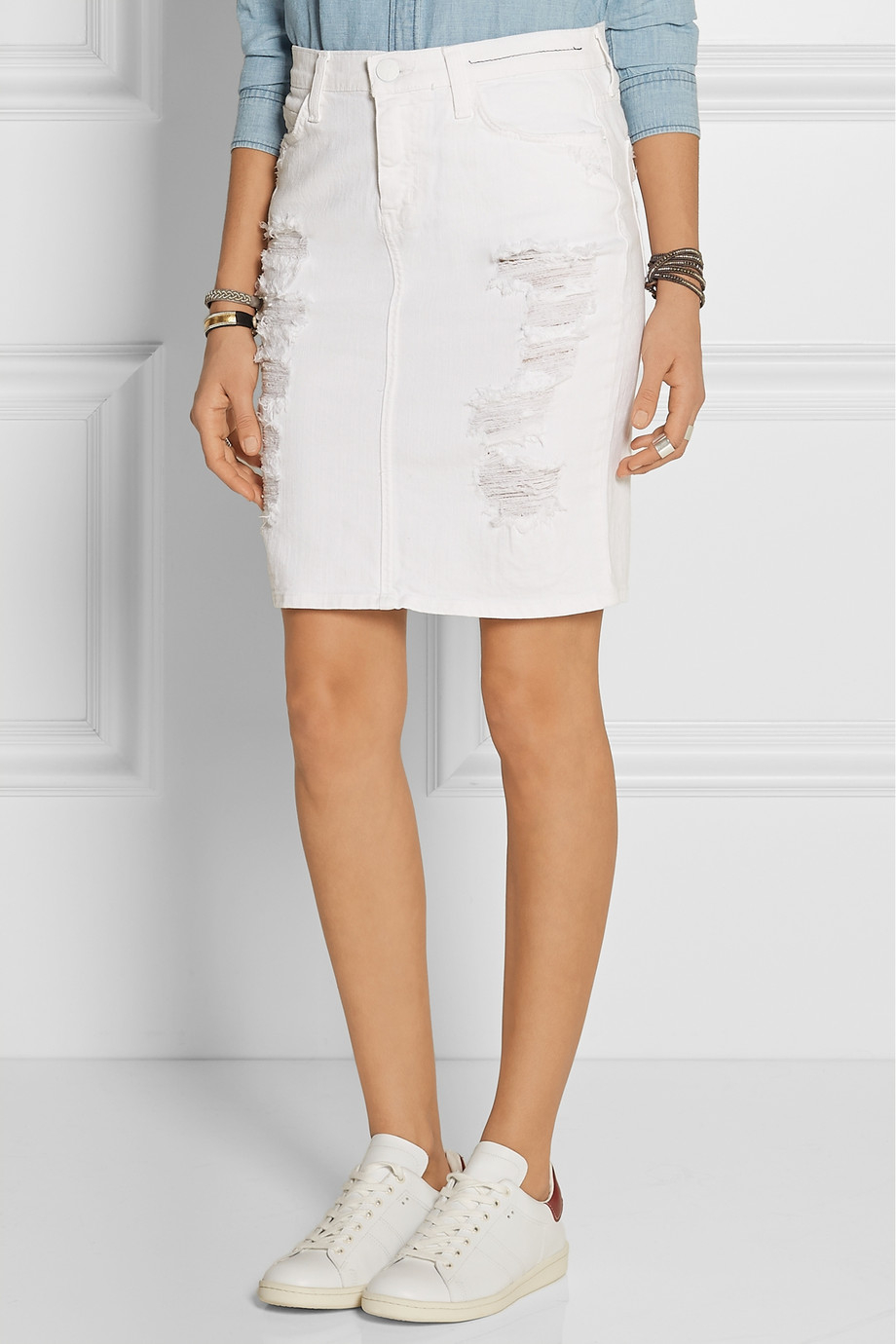 Current/elliott The Stiletto Distressed Stretch-Denim Pencil Skirt ...