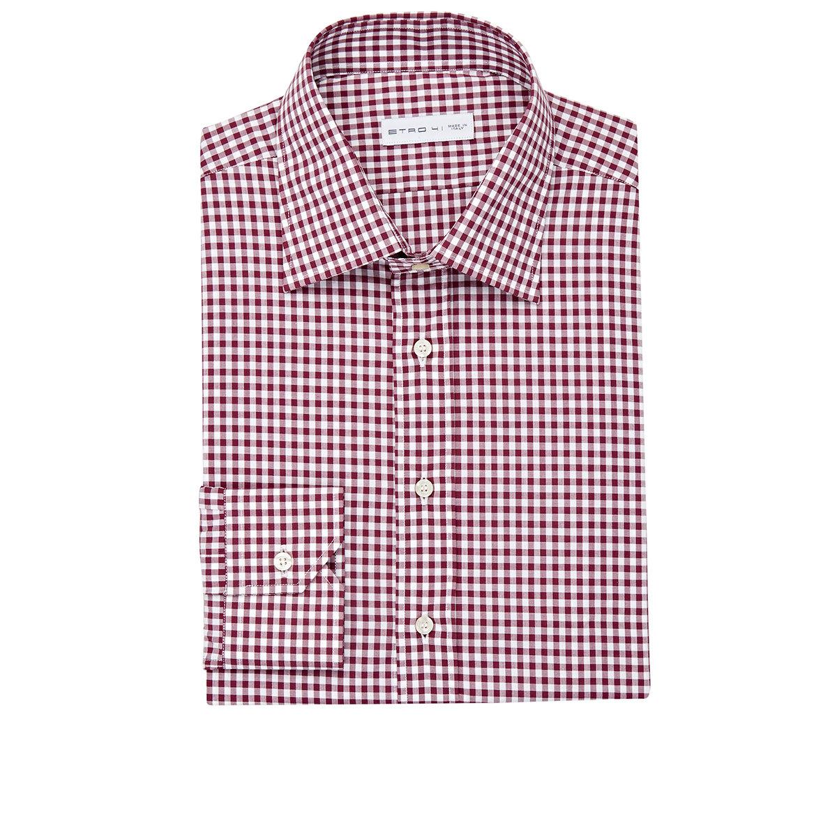 Lyst etro men 39 s gingham dress shirt in red for men for Pink checkered dress shirt