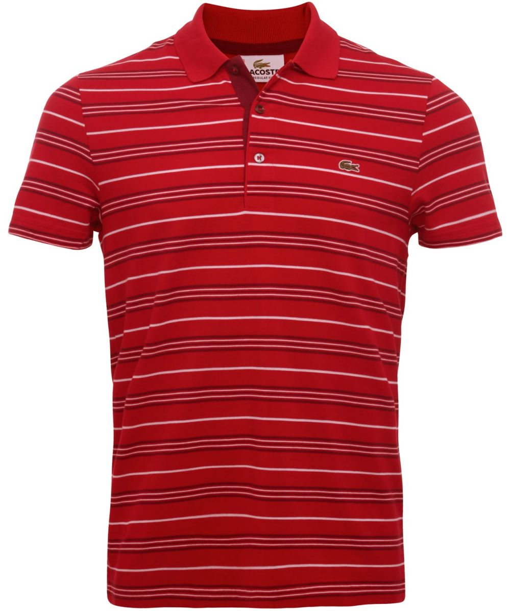Lyst lacoste regular fit striped polo shirt in red for men for Lacoste stripe pique polo shirt