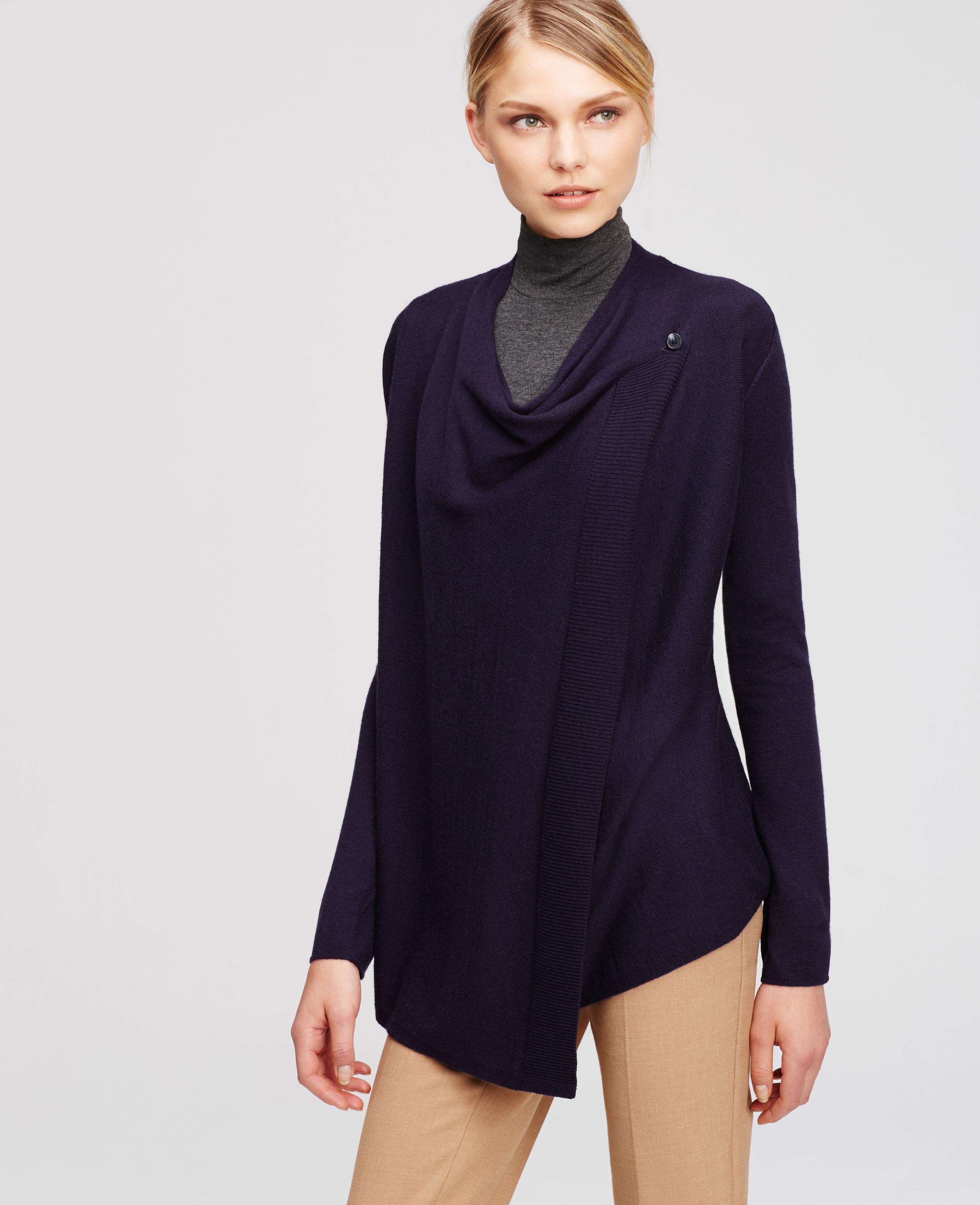 Ann taylor Wrap Sweater in Blue | Lyst