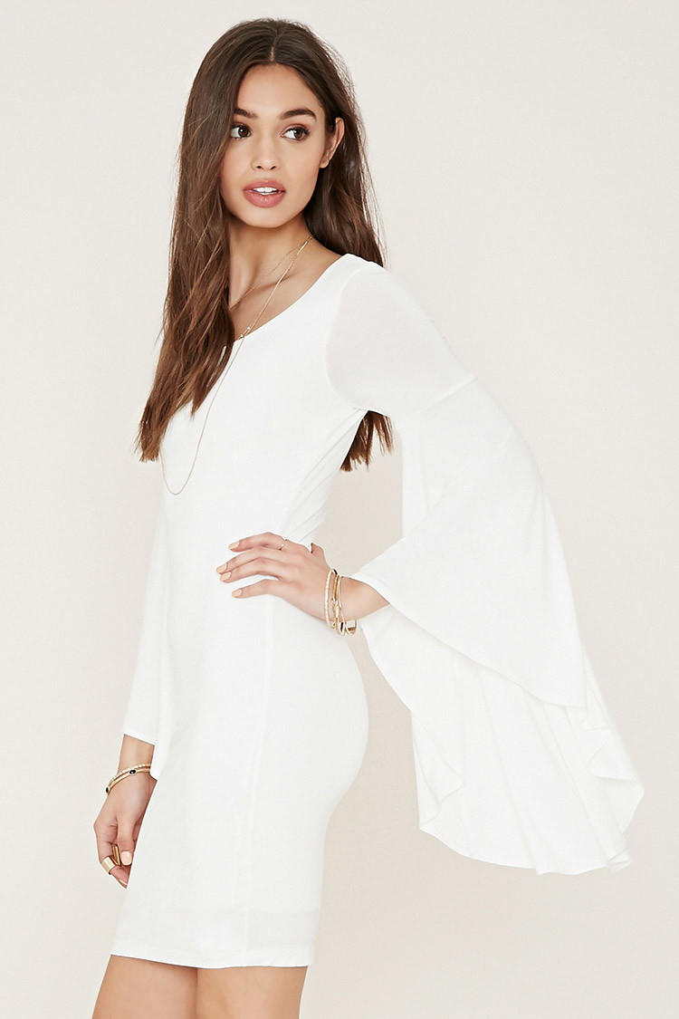 White bodycon dress with bell sleeves membership clubs
