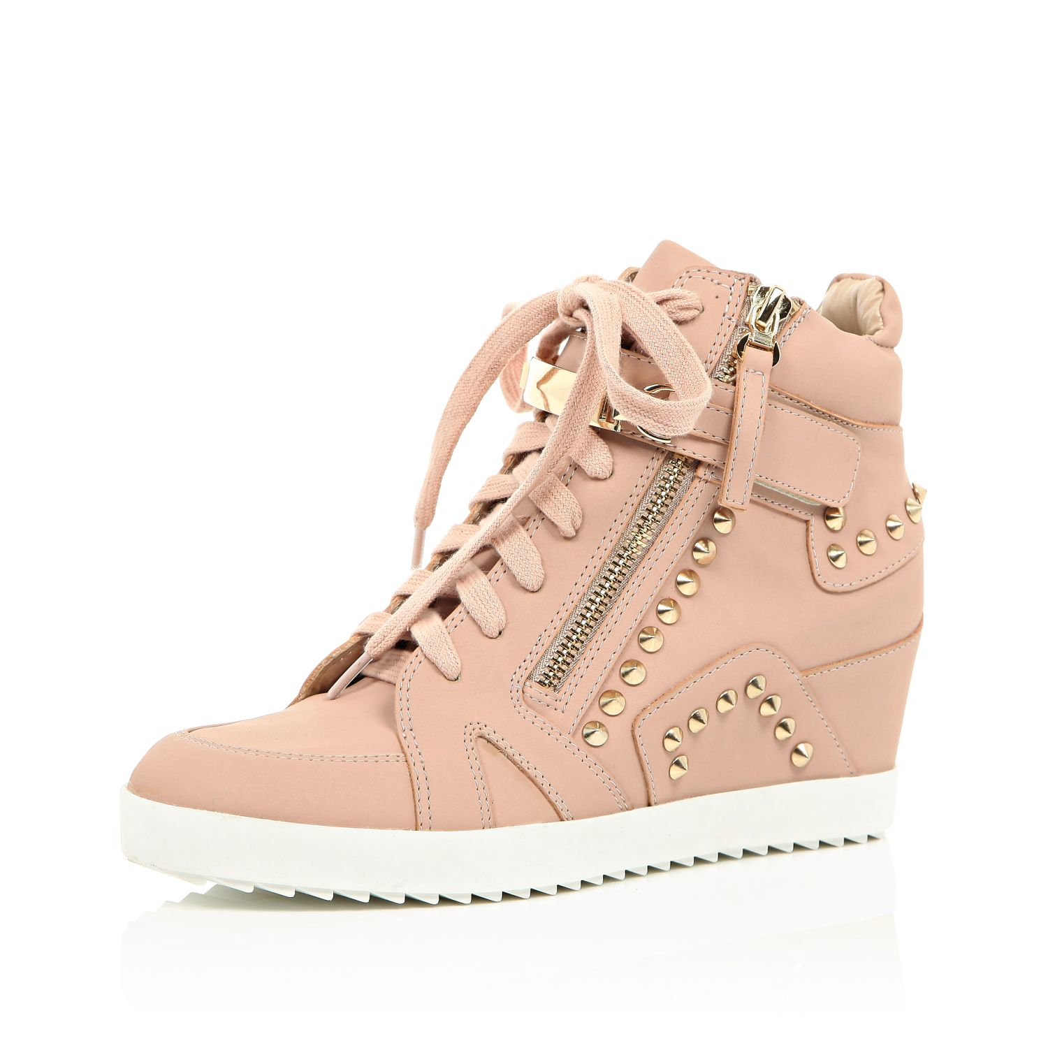 River Island Leather Light Pink Studded