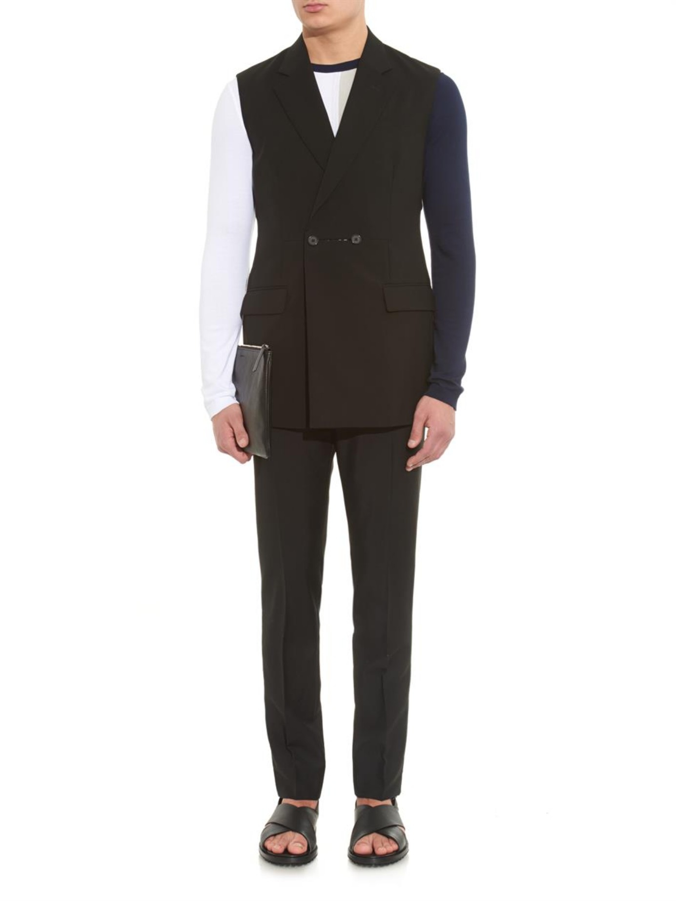 raf simons button detail sleeveless wool blazer in black for men lyst. Black Bedroom Furniture Sets. Home Design Ideas
