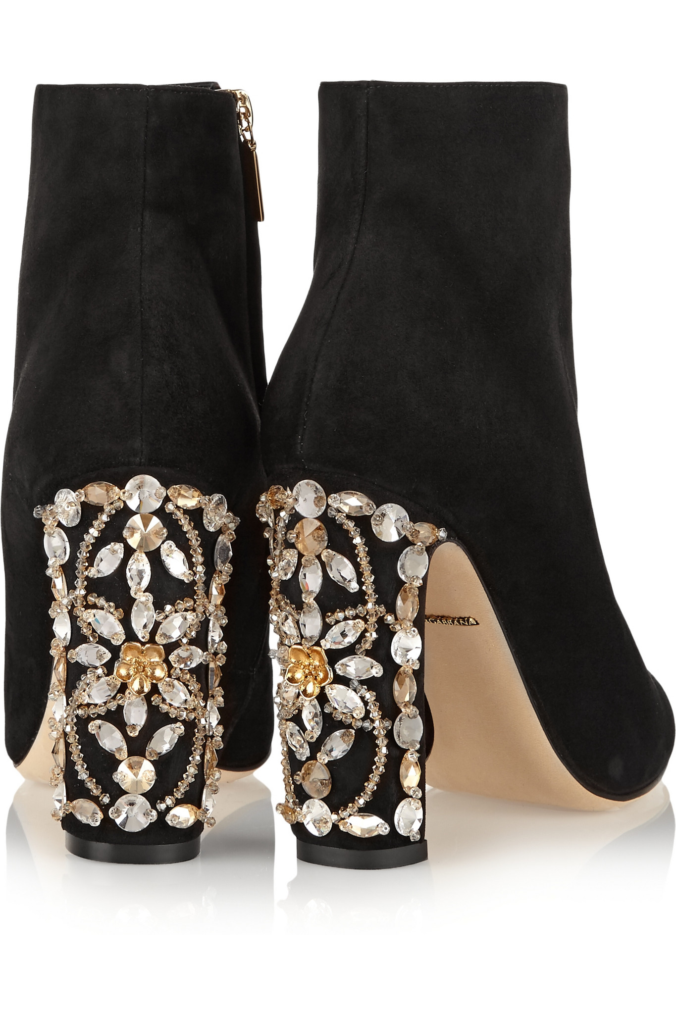 Dolce Amp Gabbana Crystal Embellished Suede Ankle Boots In