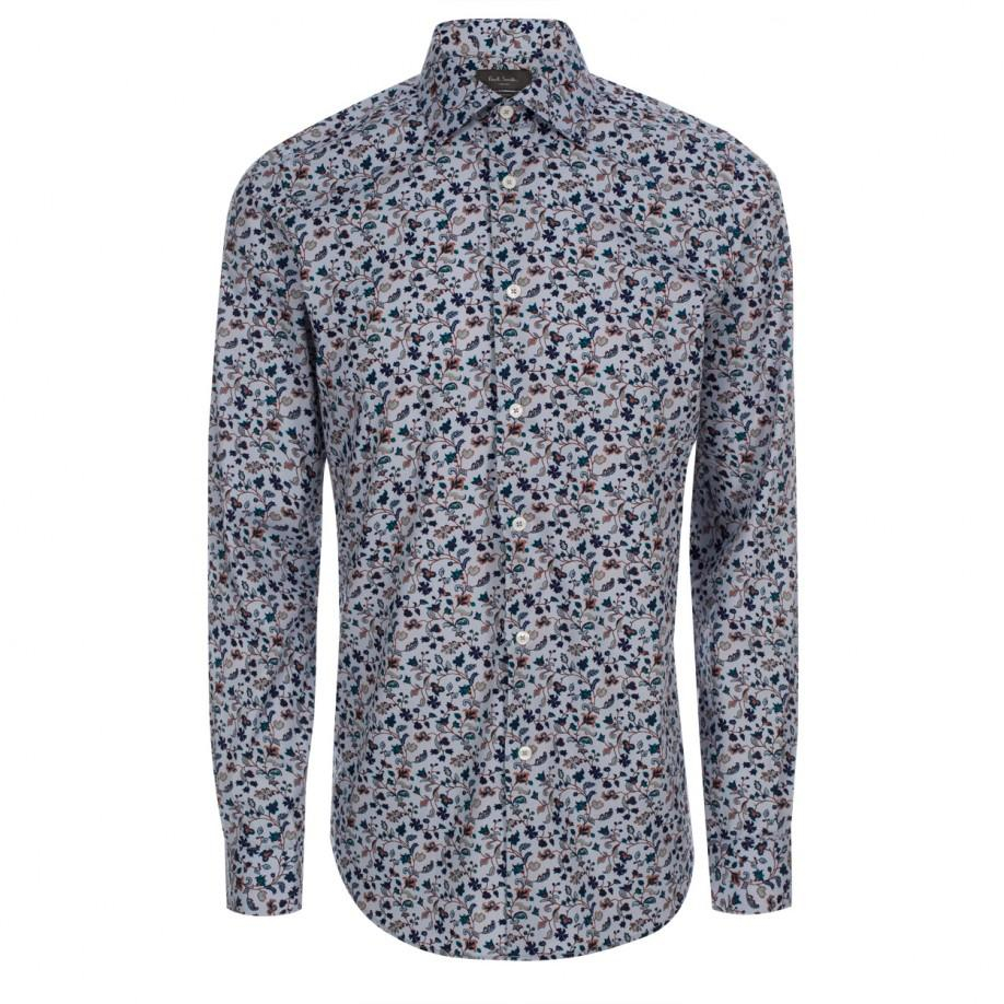 2281773a2 Paul Smith Men's Light Blue 'painted Floral' Print Double-cuff Shirt ...