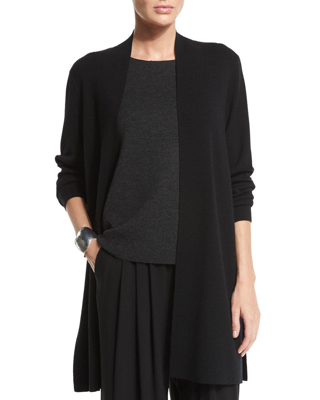 Eileen fisher Merino Wool Long Washable Cardigan in Black | Lyst