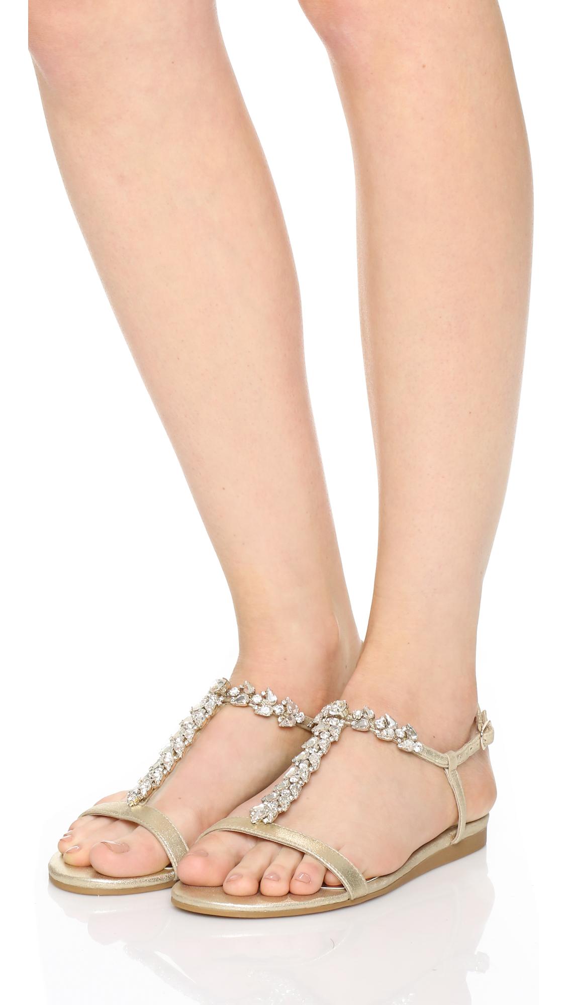 Lyst Badgley Mischka Amuse Flat Sandals In Metallic