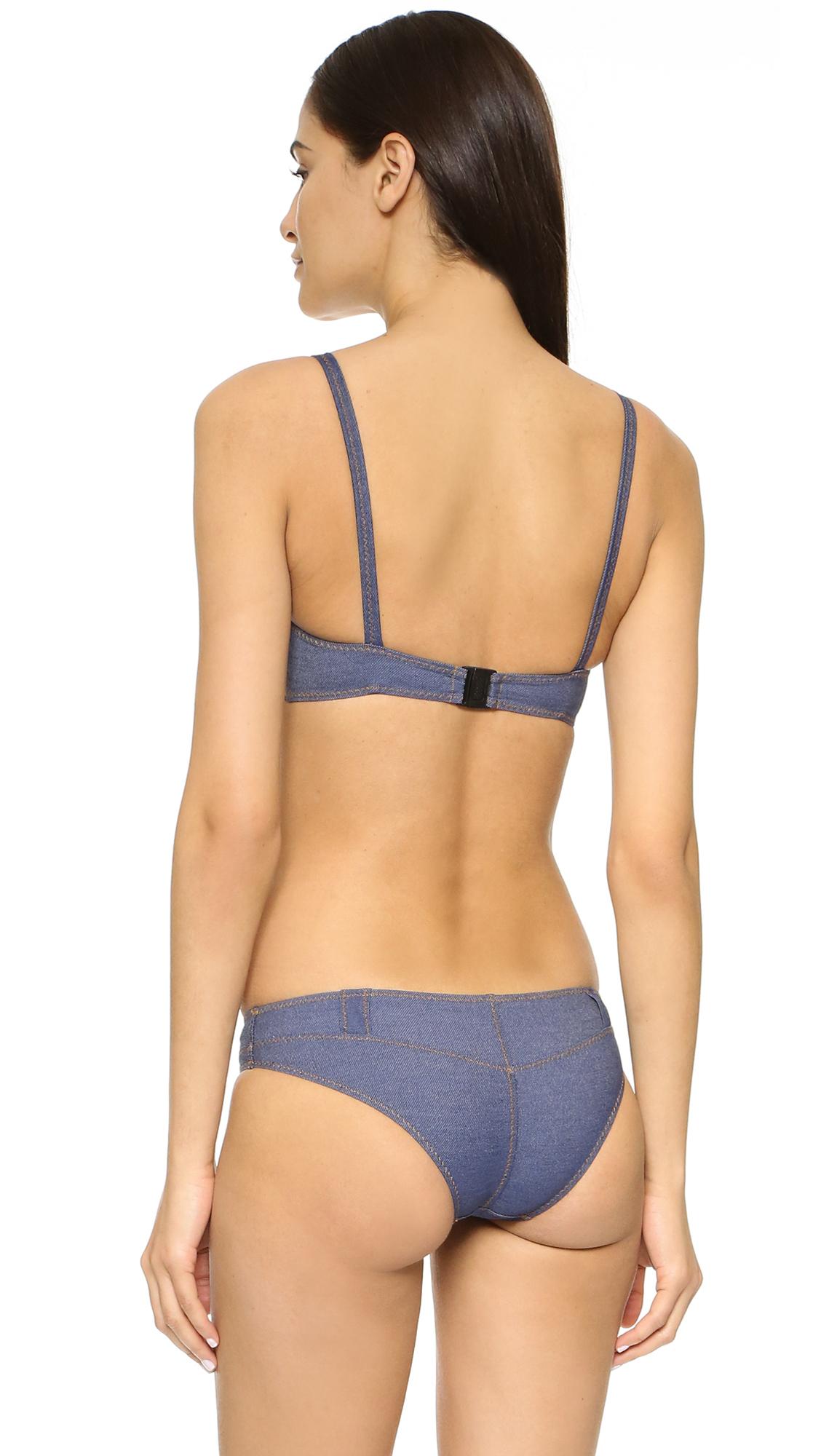 928c7b23265e3 Lisa Marie Fernandez Genevieve Denim Belt Loop Bikini in Blue - Lyst