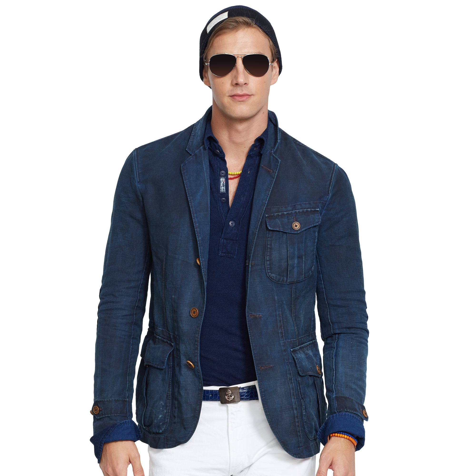 Lyst ralph lauren indigo dyed utility sport coat in blue for Sport coat with t shirt
