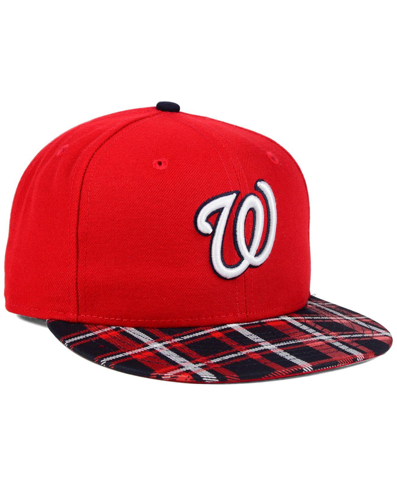 half off 093e0 ce476 ... hot lyst ktz washington nationals plaid 9fifty snapback cap in red for  men 0c26b ddf79