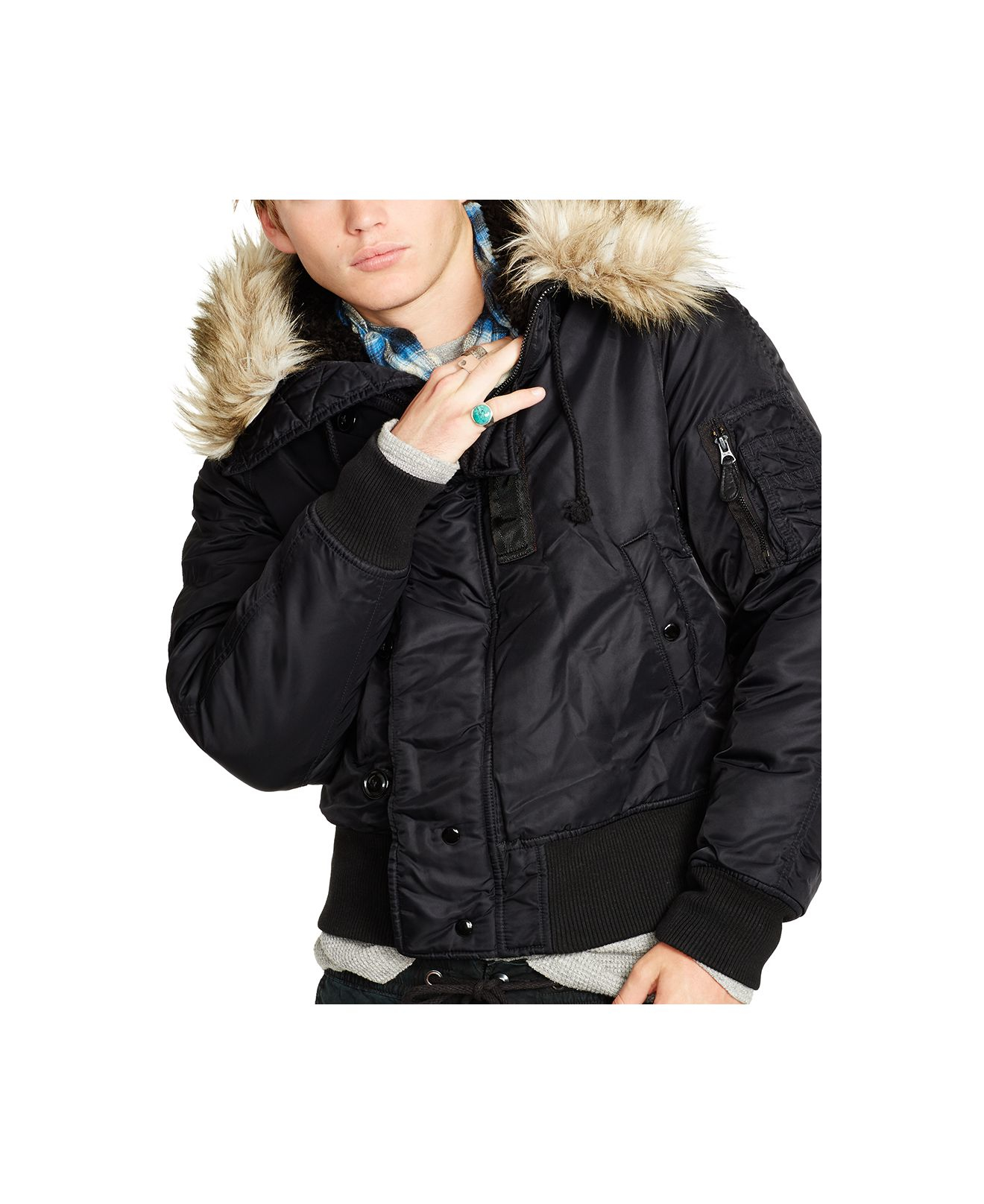 Down Bomber Jacket With Hood - Coat Nj