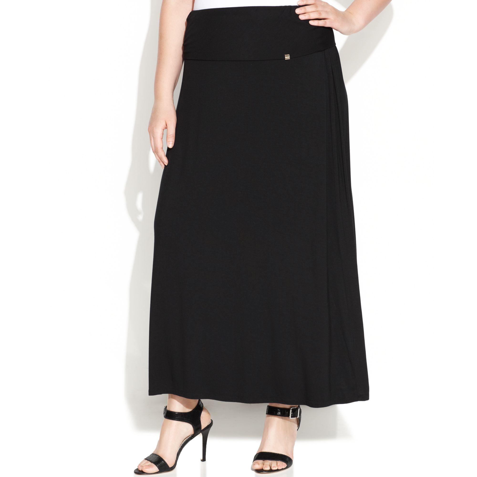 calvin klein plus size maxi skirt in black lyst