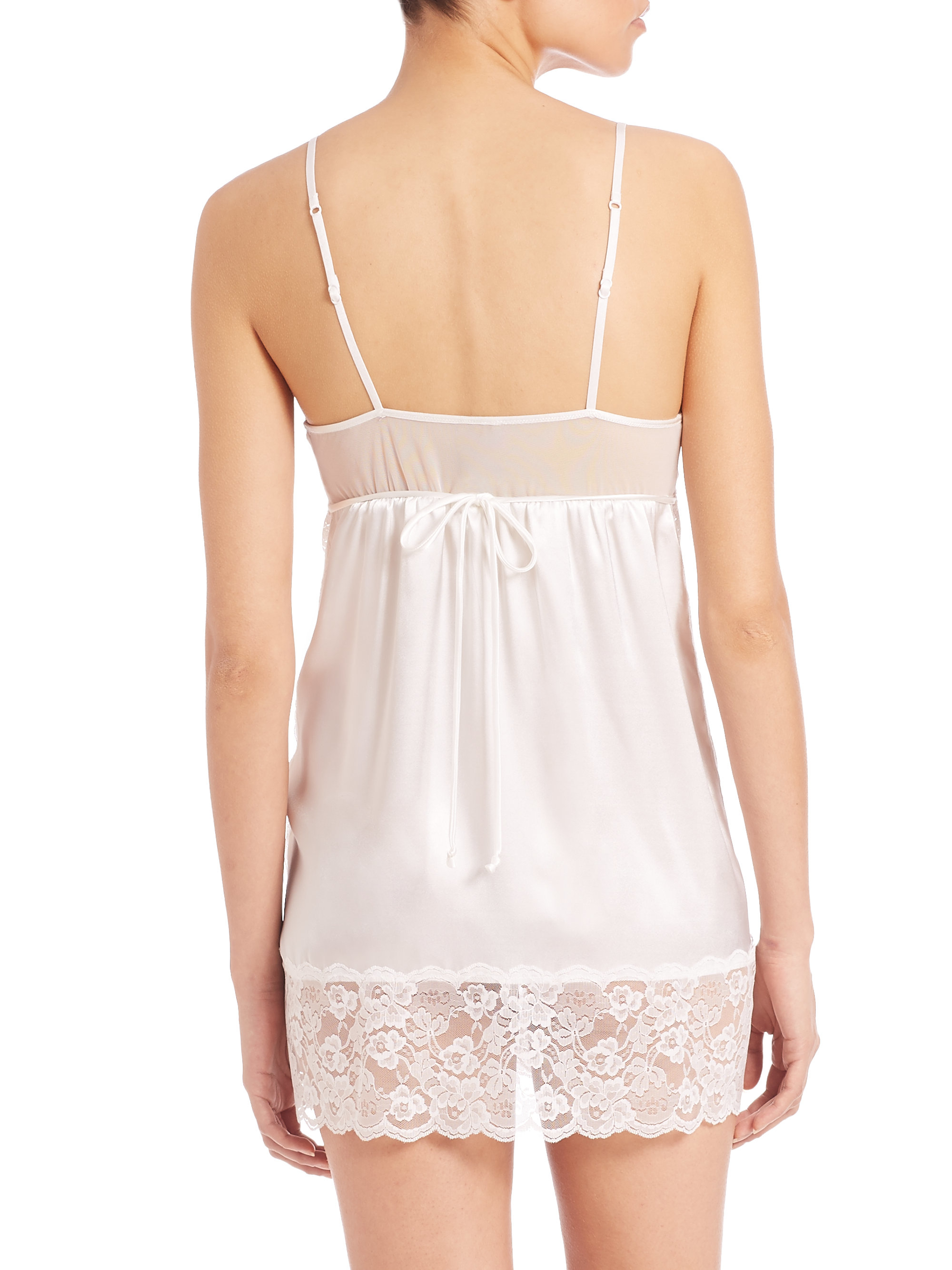 Lyst - In Bloom Lace-inset Satin Chemise in White 24b6cb547