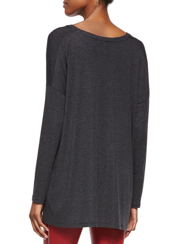 Knitting V Neck Neckband : Lyst vince luxe v neck draped knit tee in black