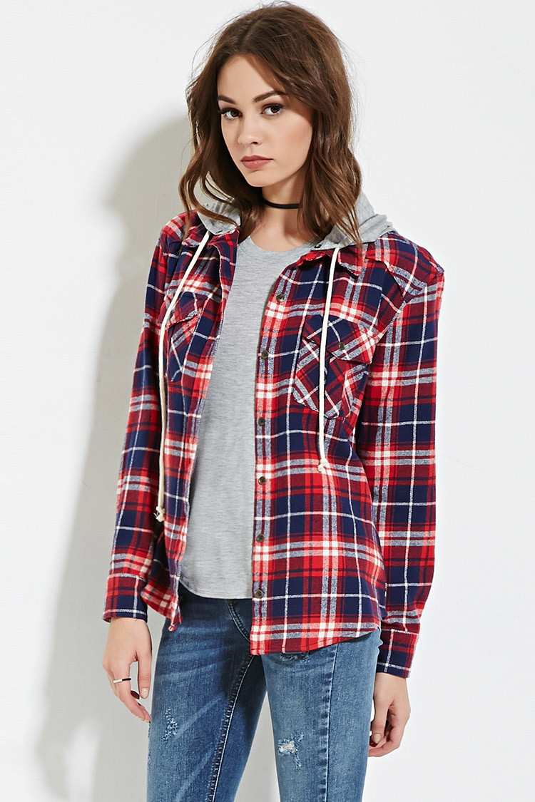 a787274760c Lyst - Forever 21 Hooded Plaid Flannel Shirt in Red