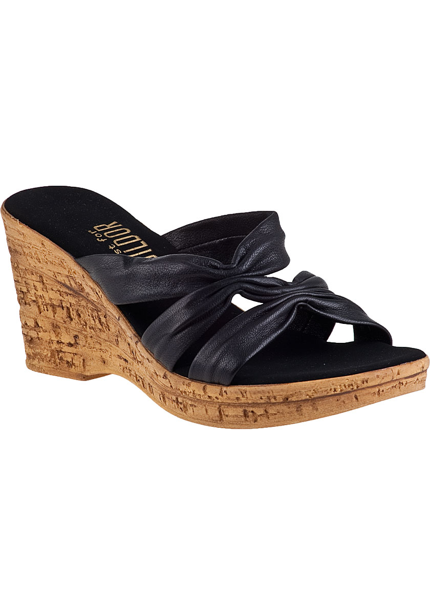 onex for jildor felicity 2 wedge sandal black leather in