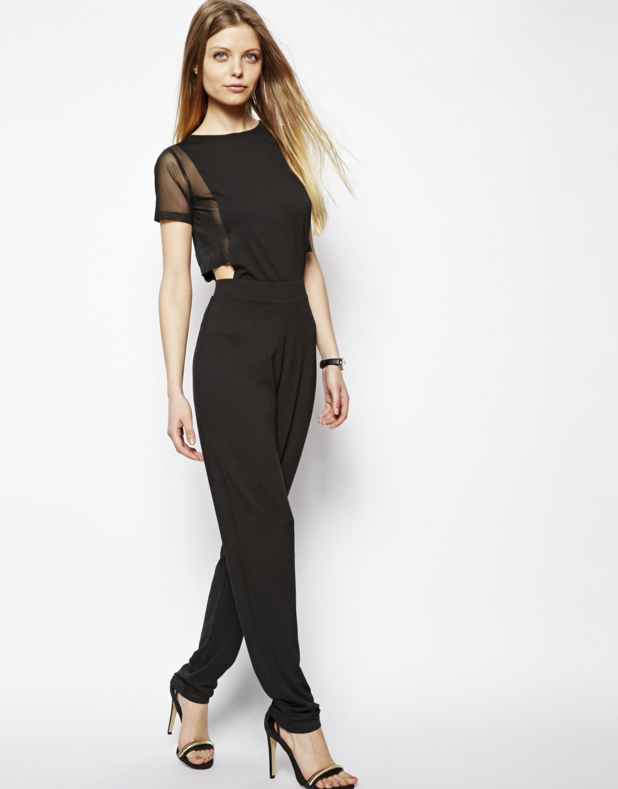 13d85bc143f Lyst - ASOS Cut Out Jumpsuit with Mesh Crop Top in Black