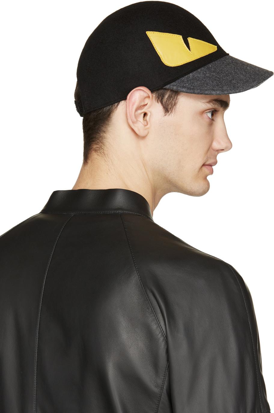 Lyst - Fendi Monster Wool Baseball Cap in Black for Men c4ed9c9852e