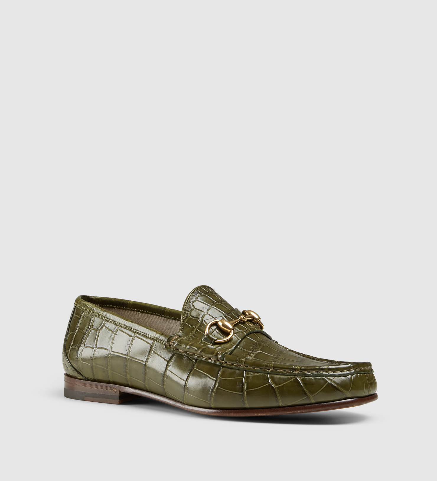 41b764e3e Lyst - Gucci Men's Crocodile 1953 Horsebit Loafer in Green for Men
