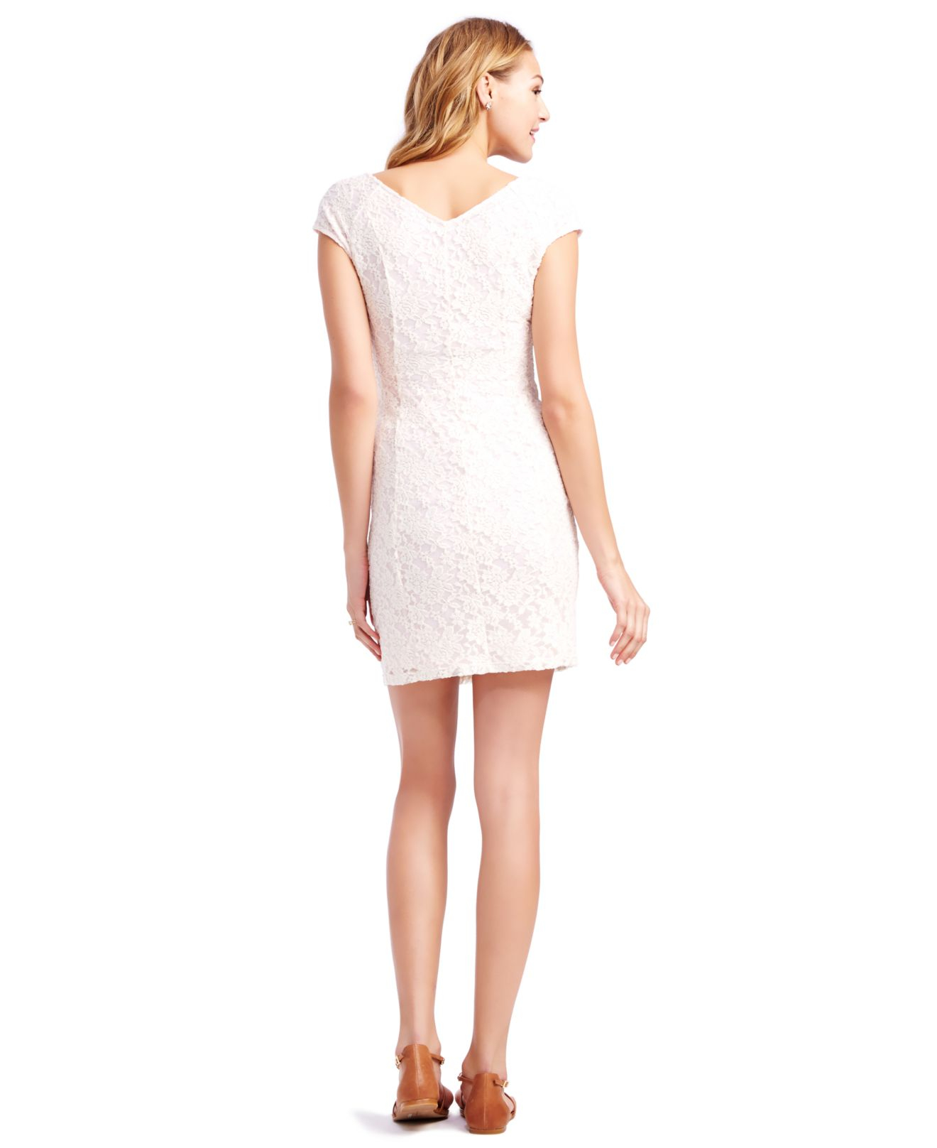 Jessica simpson maternity cap sleeve v back lace dress in pink lyst gallery ombrellifo Gallery