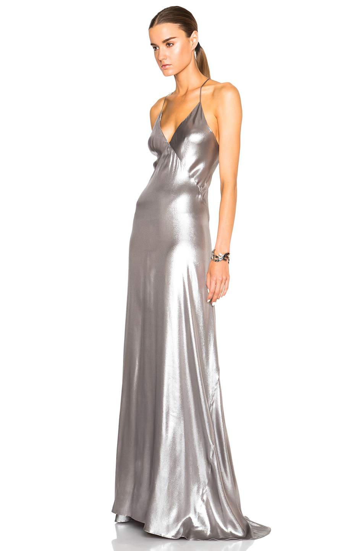 Galvan London Spaghetti Strap Dress In Metallic Lyst