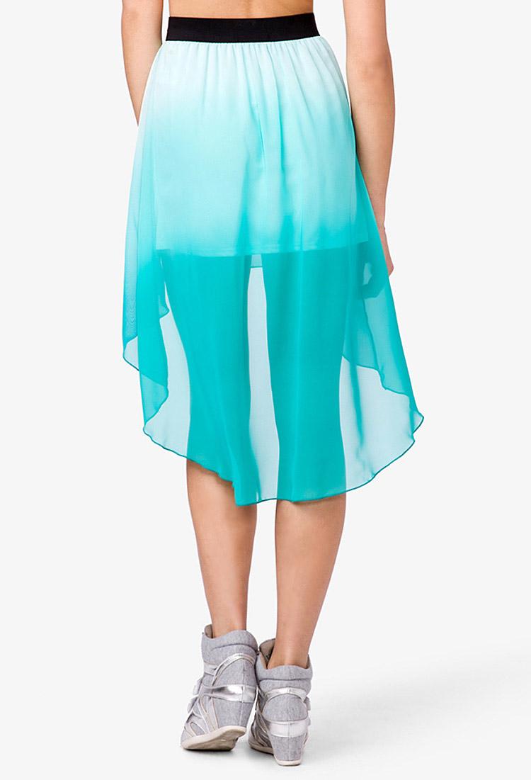 forever 21 ombr 233 highlow skirt in blue lyst