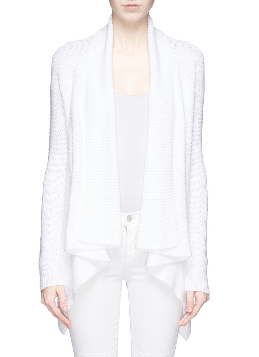 Vince Drape Front Rib Knit Cotton Cardigan in White | Lyst