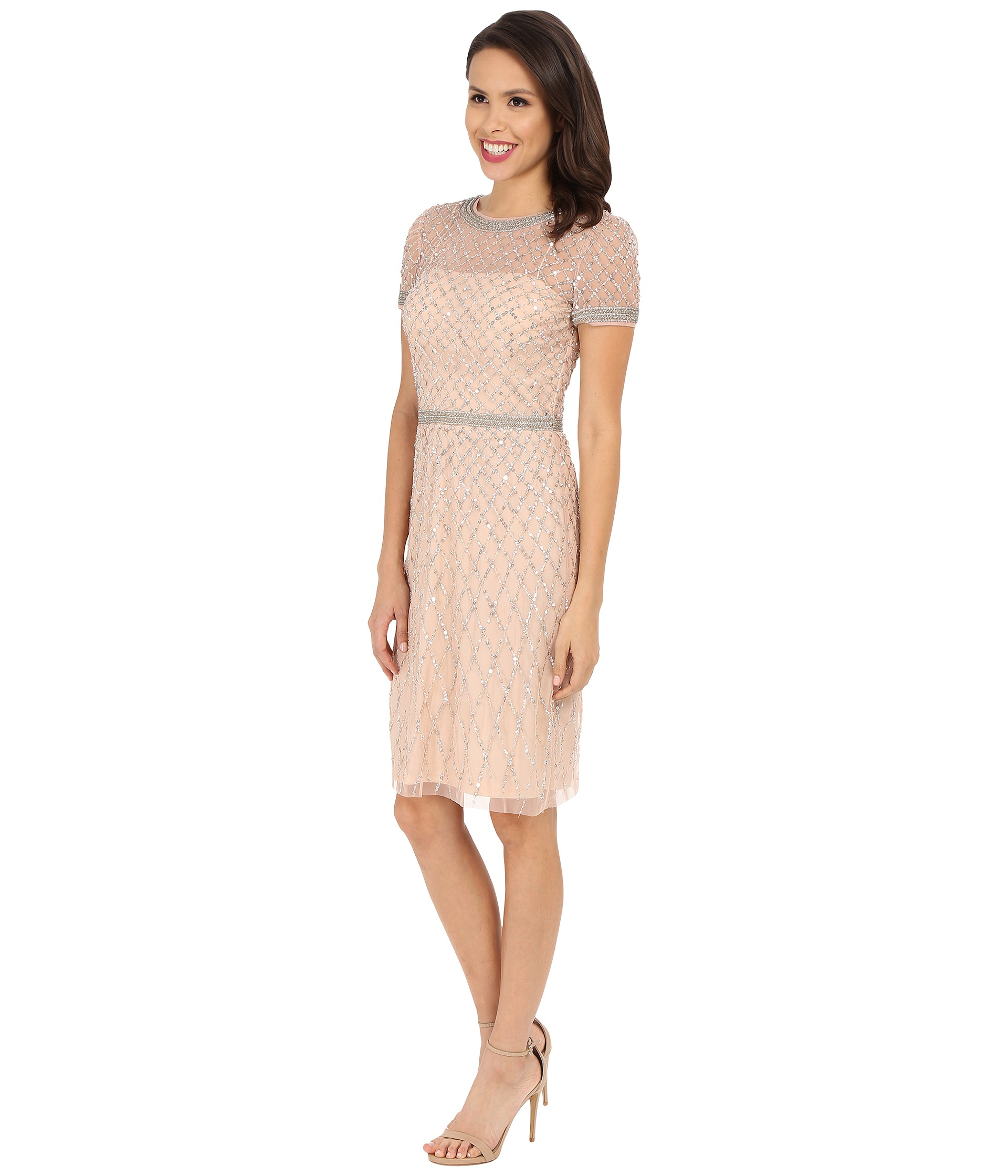 f7fe38b5cf3 Lyst - Adrianna Papell Short Sleeve Fully Beaded Cocktail Dress in Pink