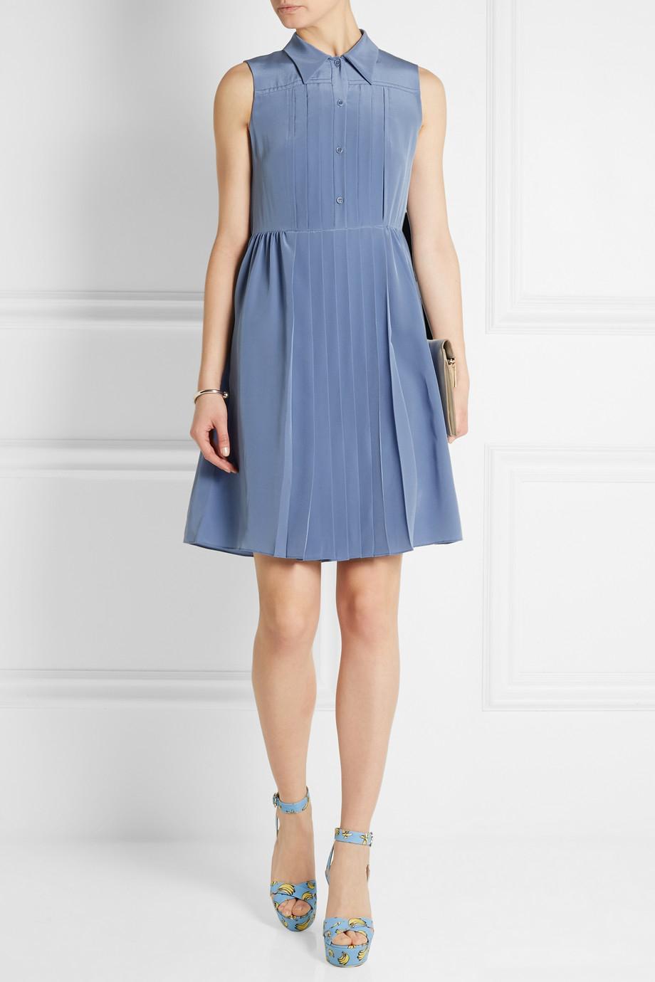 lyst miu miu pleated silk crepe de chine dress in blue. Black Bedroom Furniture Sets. Home Design Ideas
