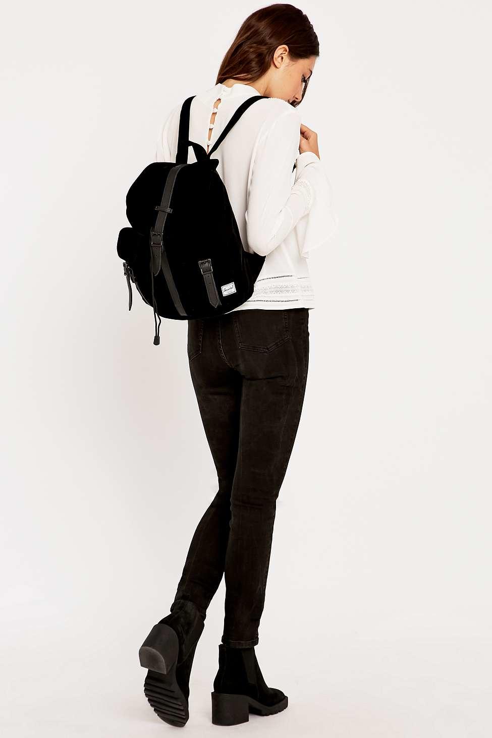 Herschel Supply Co. Dawson Black Velvet Backpack in Black - Lyst 3c465931b5724