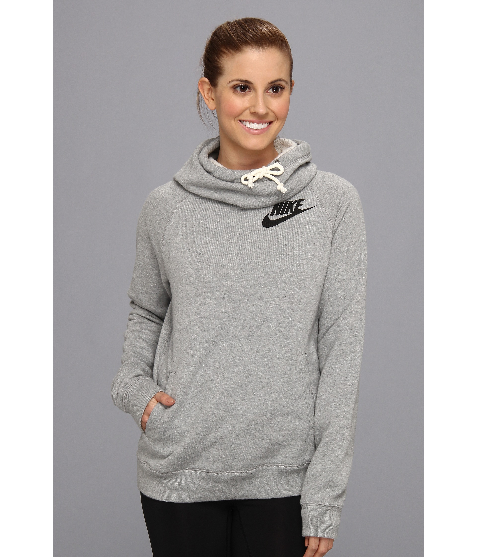 7618954d1 Nike Rally Funnel Neck Hoodie in Gray - Lyst