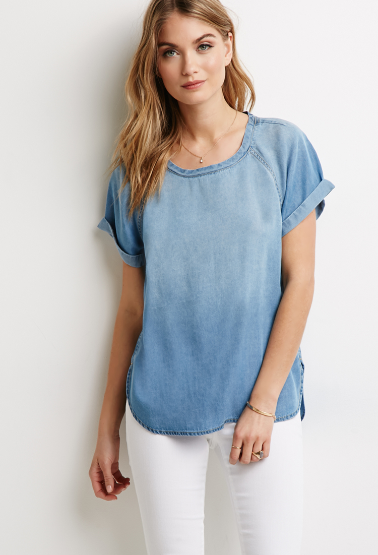 Forever 21 Life In Progress Cuffed-sleeve Chambray Top in ...
