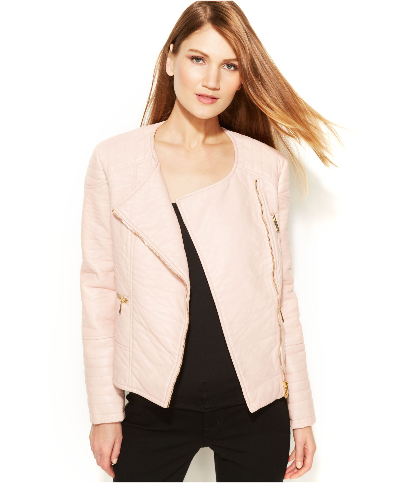 Calvin Klein Faux Leather Moto Jacket In Pink Lyst