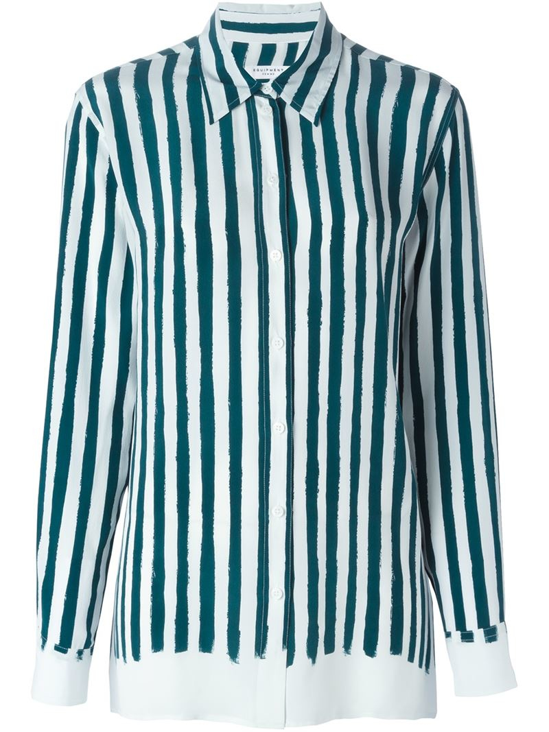 Equipment Silk Striped Shirt In Green Lyst