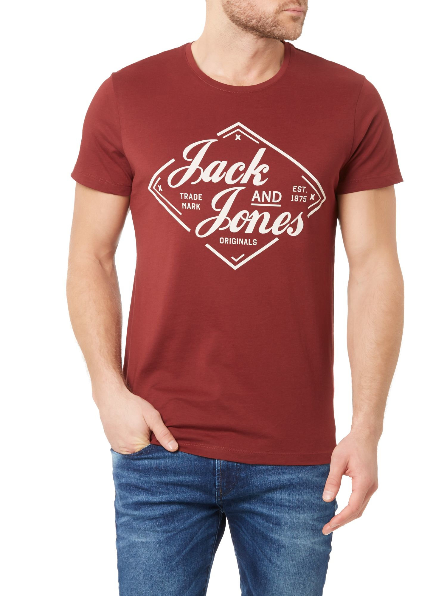 jack jones diamond crew neck short sleeve t shirt in red. Black Bedroom Furniture Sets. Home Design Ideas