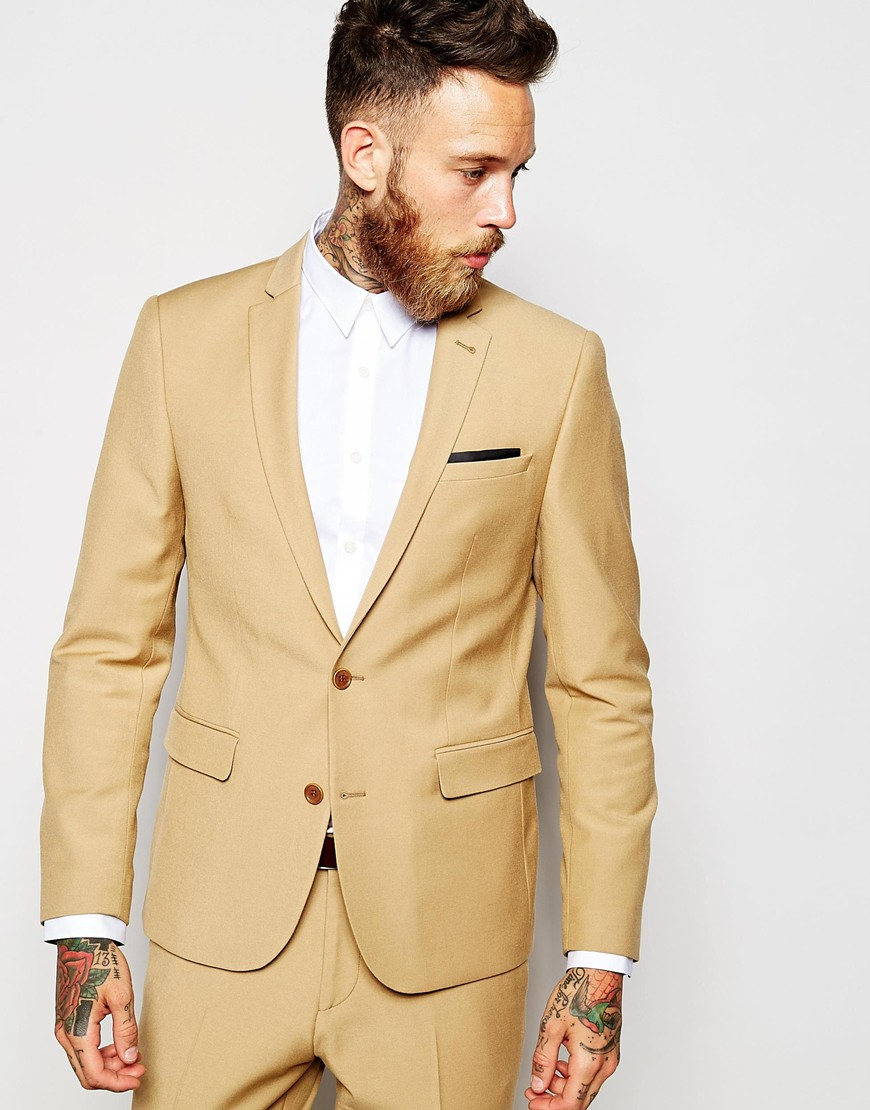 Asos Slim Suit Jacket In Camel in Natural for Men | Lyst