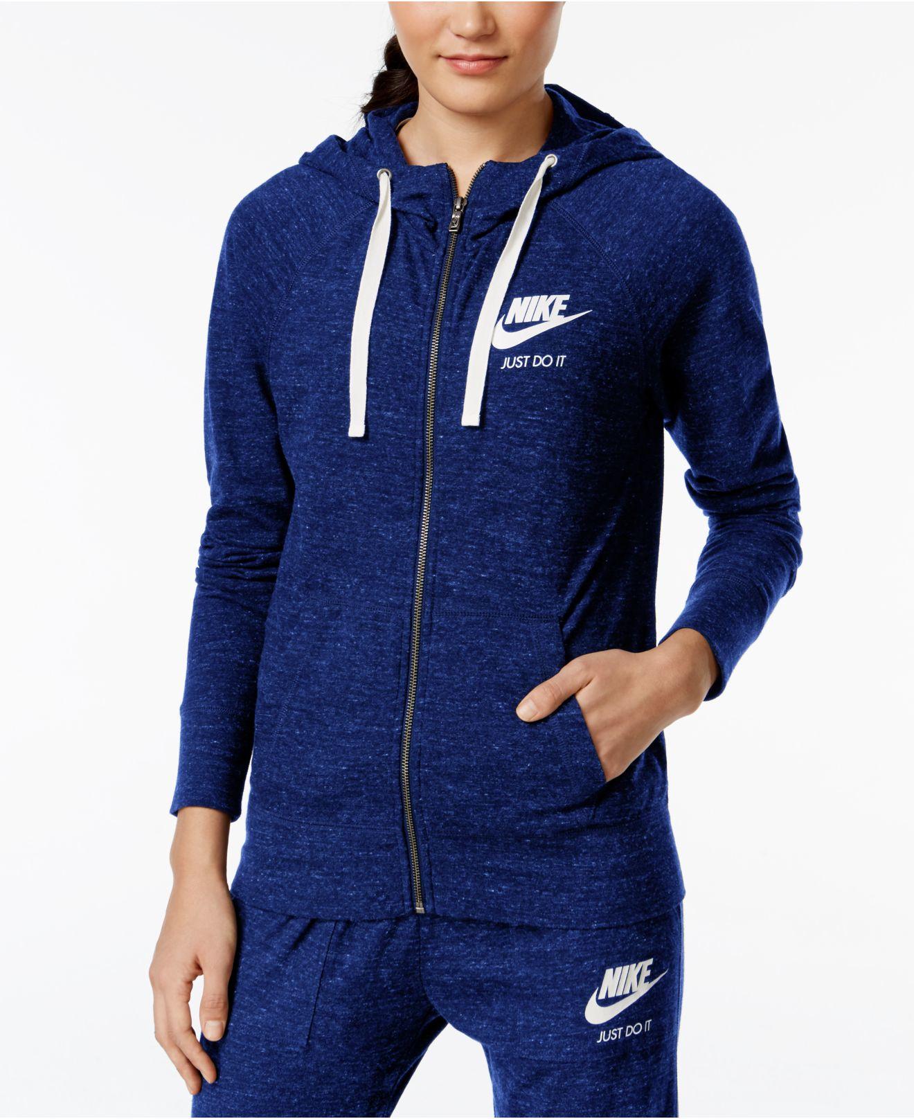 nike gym vintage full zip hoodie in blue lyst. Black Bedroom Furniture Sets. Home Design Ideas